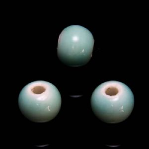 Beads, Porcelain, Light blue , Round shape, Diameter 6mm, 10 Beads, [TCZ0146]
